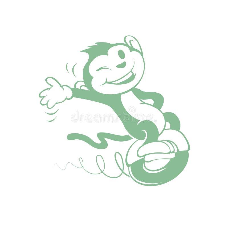 Macaco dos desenhos animados na roda ilustração do vetor