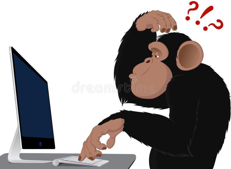 Macaco e computador ilustração royalty free