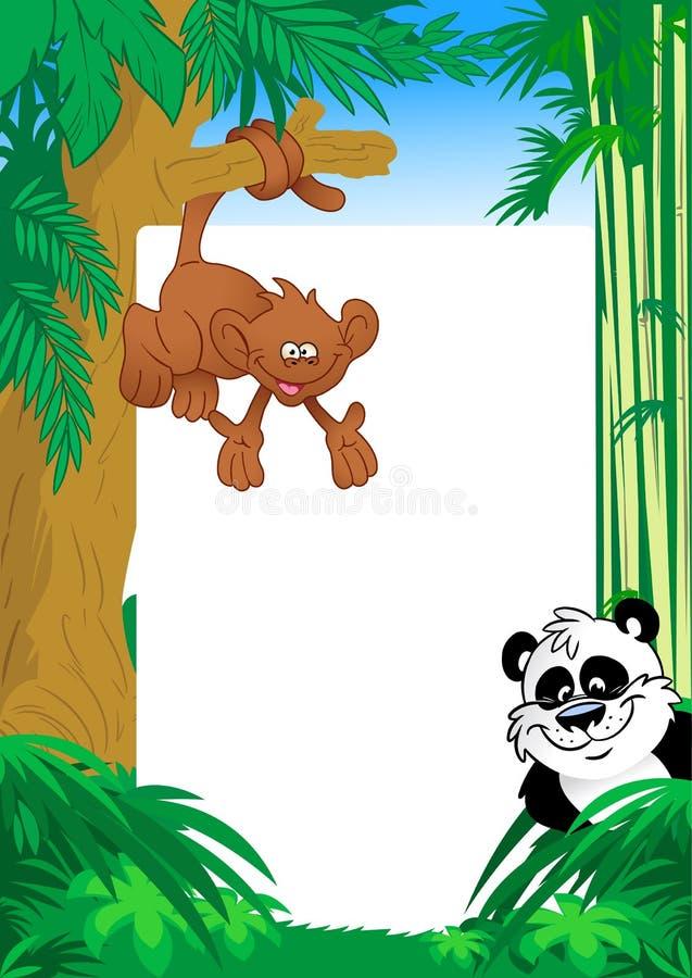 Macaco e panda no quadro do fundo ilustração stock