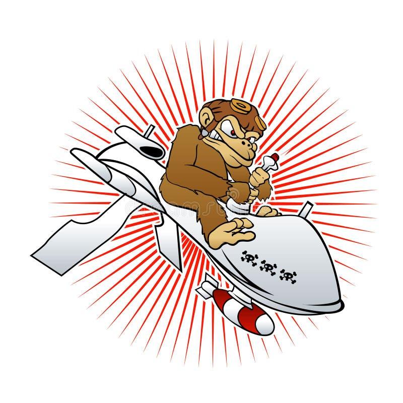Macaco em uns desenhos animados do zangão ilustração royalty free