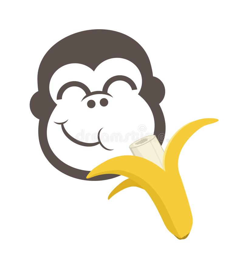 Macaco engraçado que come bananas ilustração royalty free