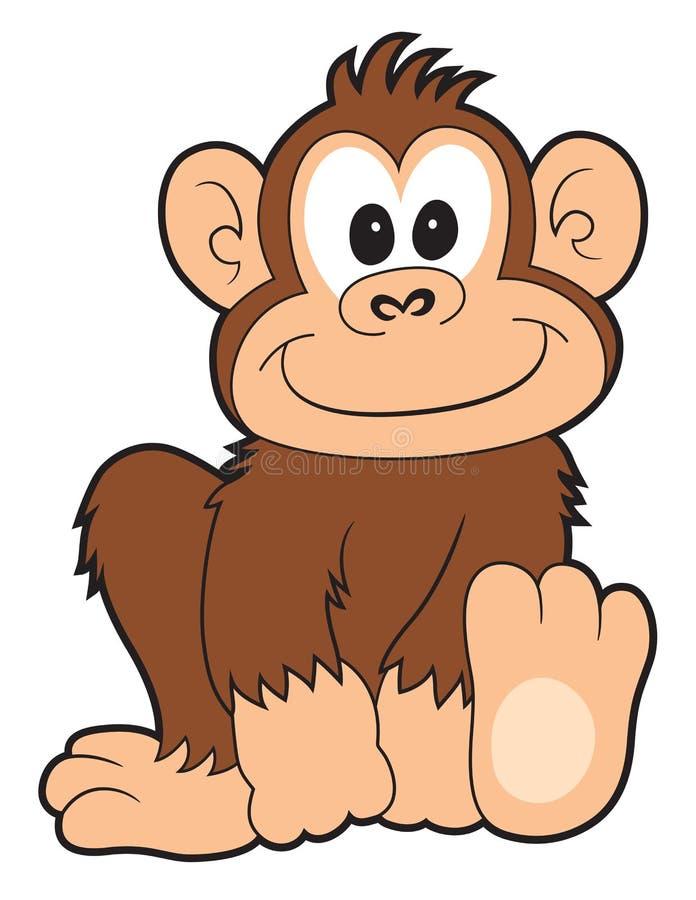 Macaco feliz dos desenhos animados ilustração royalty free
