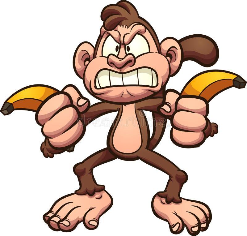 Macaco irritado dos desenhos animados guardando um par a banana ilustração royalty free