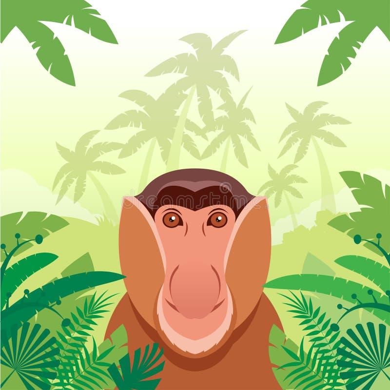 macaco Longo-cheirado no fundo da selva ilustração royalty free