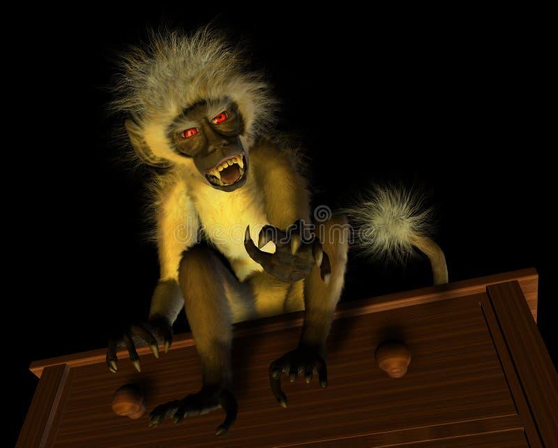 Macaco mau do demónio ilustração stock