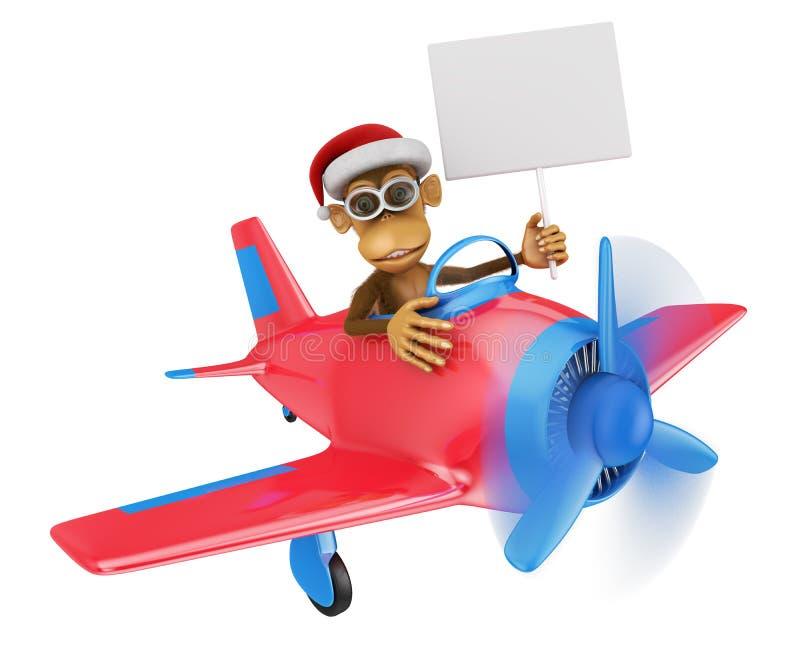 Macaco no avião ilustração stock