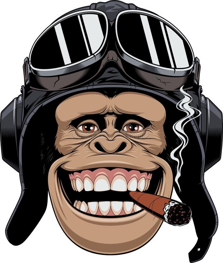 Macaco no piloto do capacete ilustração royalty free