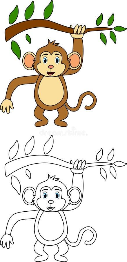 Macaco para o livro para colorir ilustração royalty free