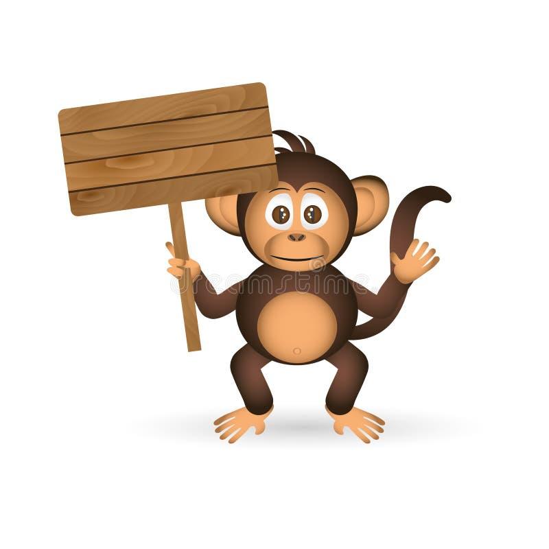Macaco pequeno do chimpanzé bonito que guarda a placa de madeira vazia para seu texto eps10 ilustração stock