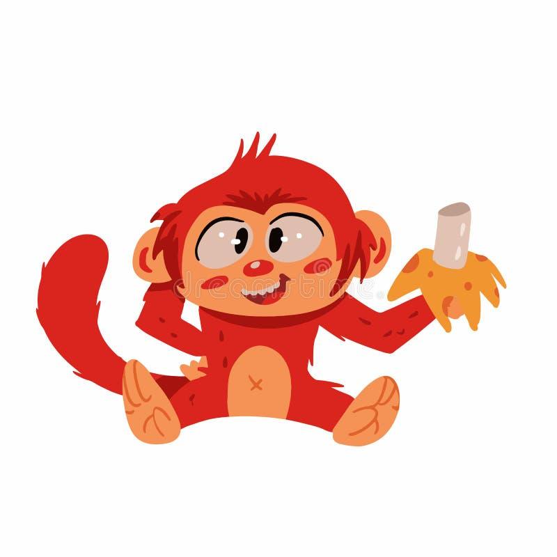 Macaco que come desenhos animados da banana ilustração stock
