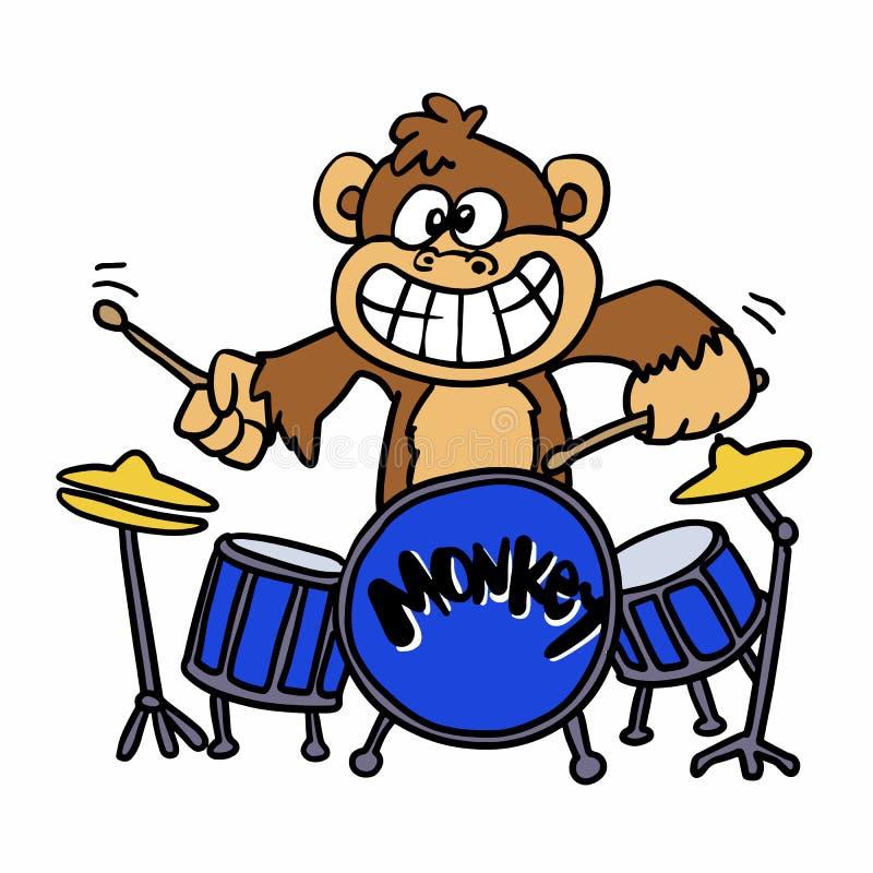 Macaco que joga desenhos animados dos cilindros ilustração royalty free