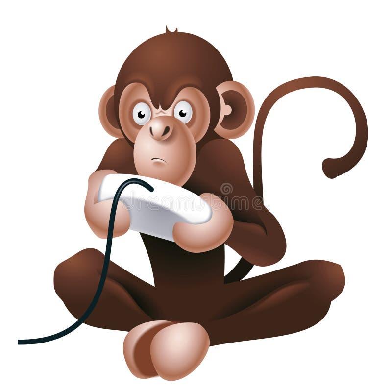 Macaco que joga o jogo de computador ilustração stock