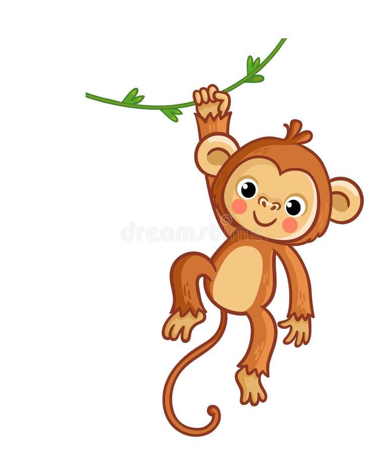 Macaco que pendura na liana Ilustração do vetor Animal bonito ilustração stock