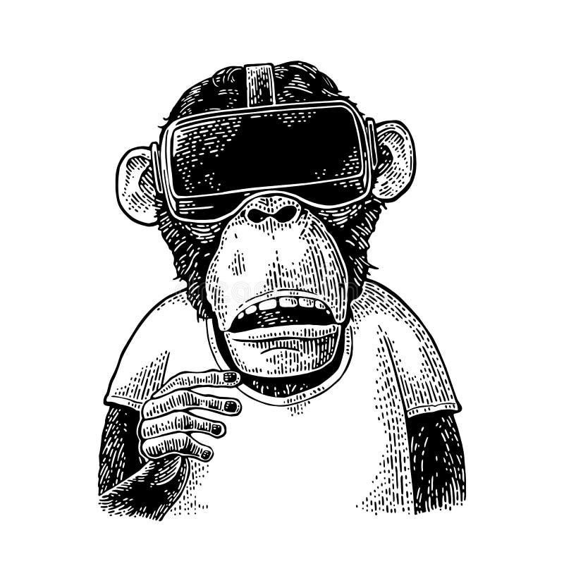 Macaco que veste auriculares e t-shirt da realidade virtual Gravura preta do vintage ilustração stock