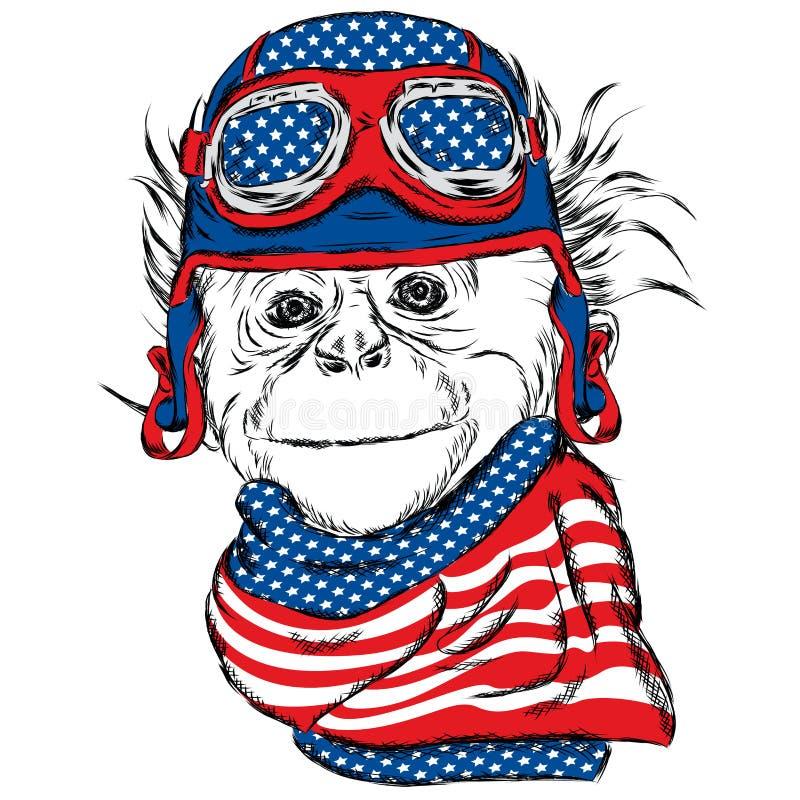 Macaco que veste um capacete Vector a ilustração para o cartão, o cartaz, ou a cópia na roupa ilustração royalty free