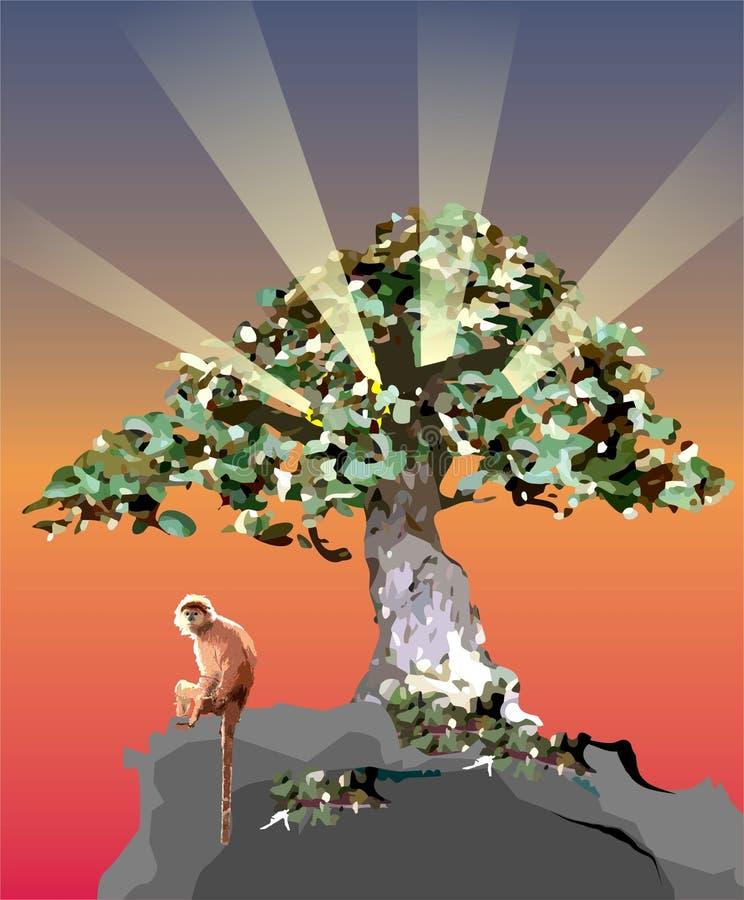 Macaco sob a árvore imagem de stock