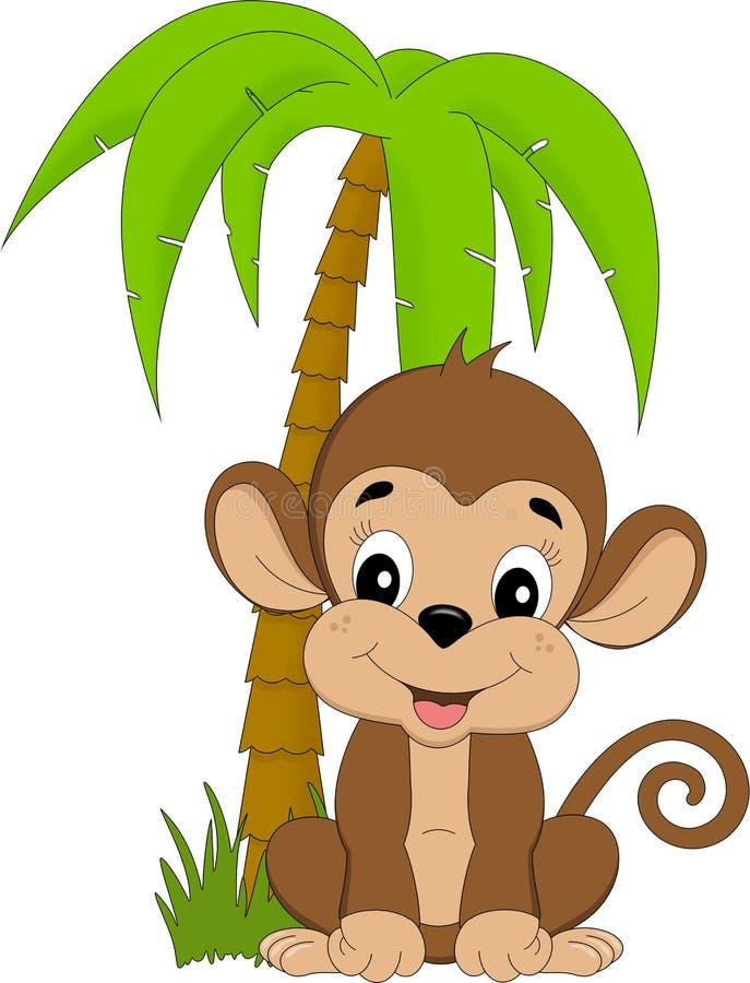 Macaco sob o palmtree ilustração do vetor