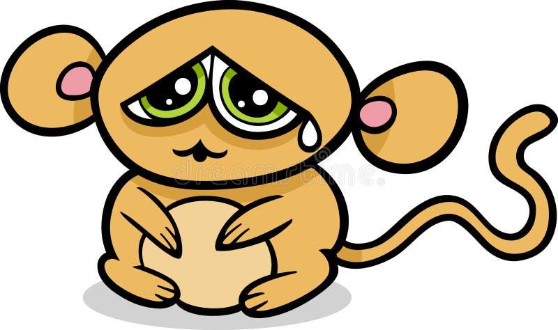 Macaco Triste Do Kawaii Dos Desenhos Animados Ilustração