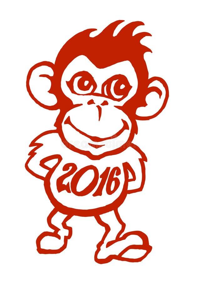 Macaco vermelho engraçado que sorri e que anda com a camisa de 2016 anos ilustração do vetor
