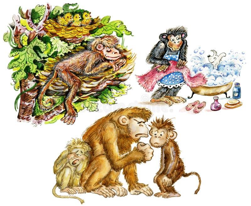 Macacos bonitos engraçados ilustração stock