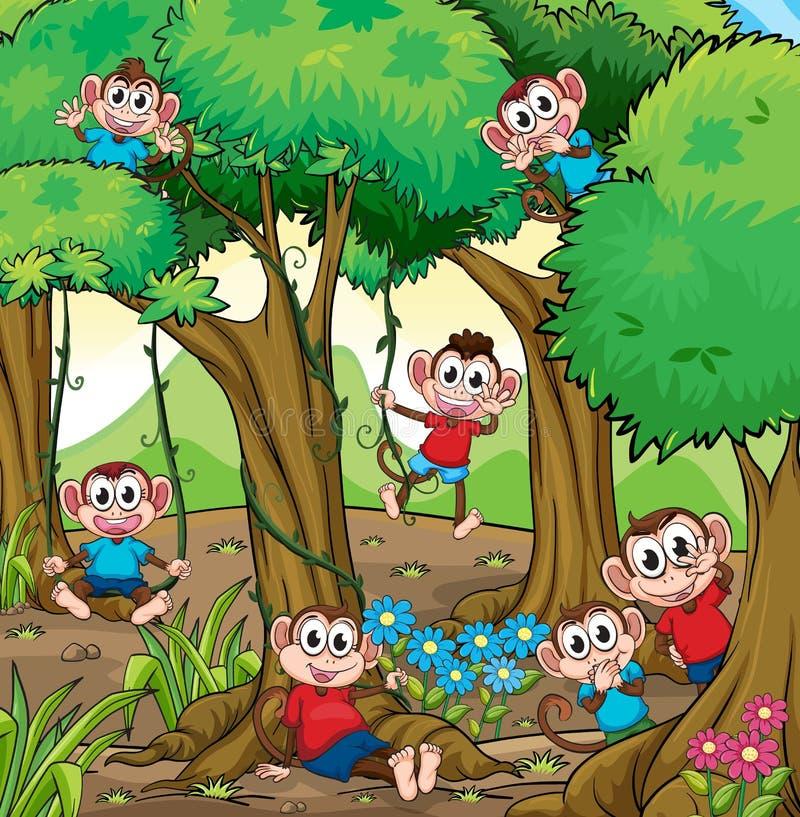Macacos na selva ilustração stock