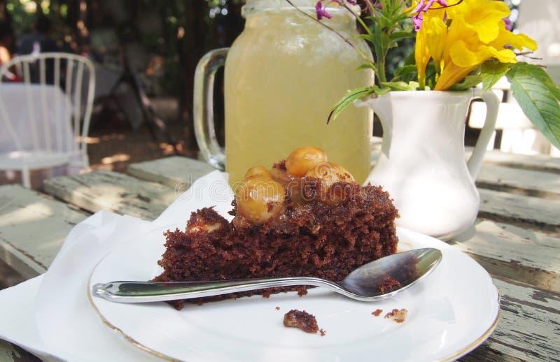 Macadamia dokrętka z czekoladowym tortem obraz royalty free