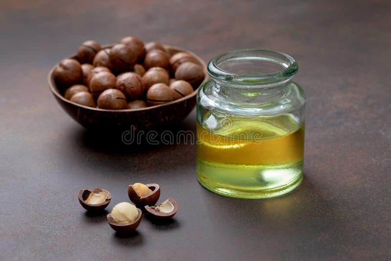 Macadamia olej fotografia stock