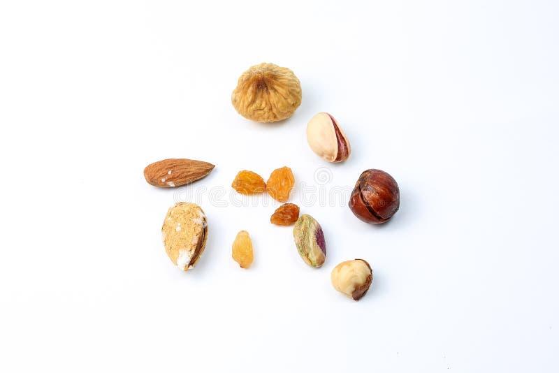 Macadamia van de pistacheamandel de mengeling van nootrozijnen stock afbeelding
