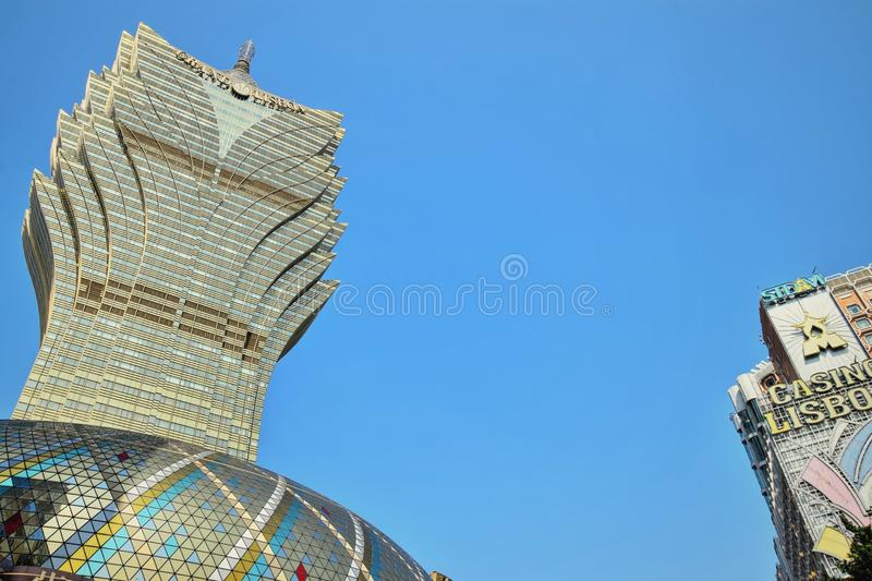 MACAO – CIRCA JANUARY 2017:Casino Lisboa, one of the oldest and most famous casinos in Macau. royalty free stock images