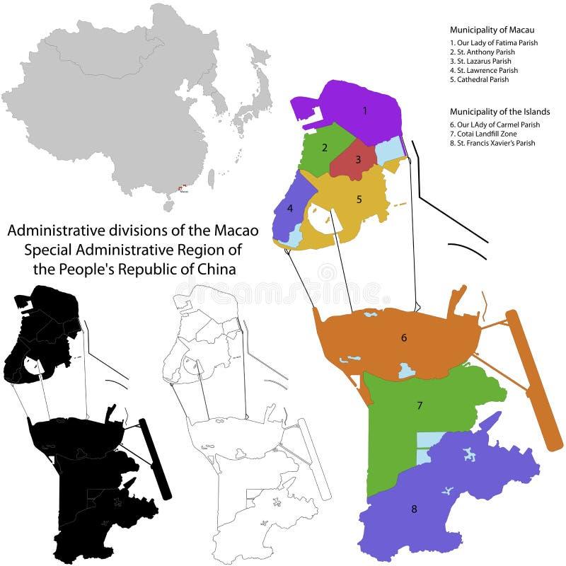Macao översikt royaltyfri illustrationer