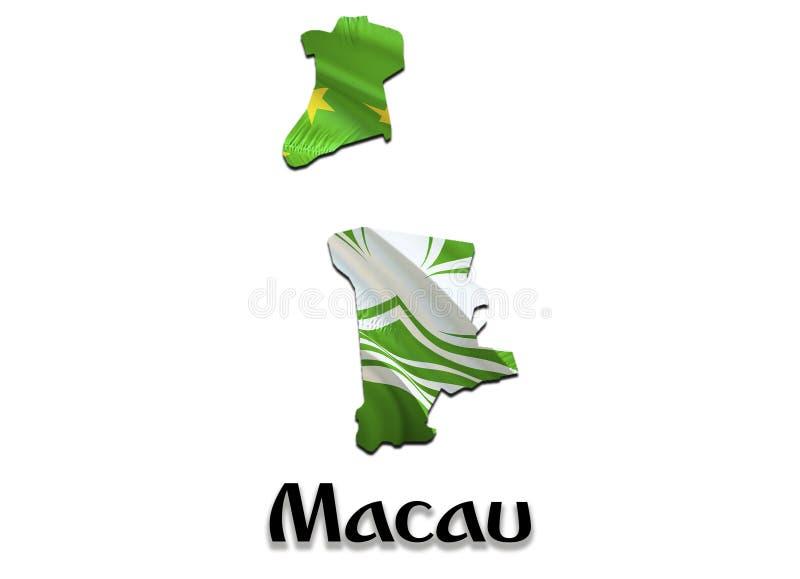 Macao översiktsflagga 3D som framför den Macao översikten och flaggan på den Asien översikten Det nationella symbolet av Macao Ki royaltyfri illustrationer
