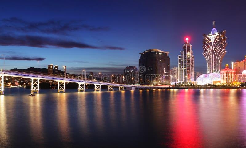 Macao bij nacht royalty-vrije stock foto's