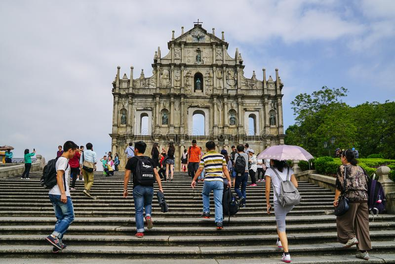 The ruins of St Paul facade near the stairs at Macao stock photos