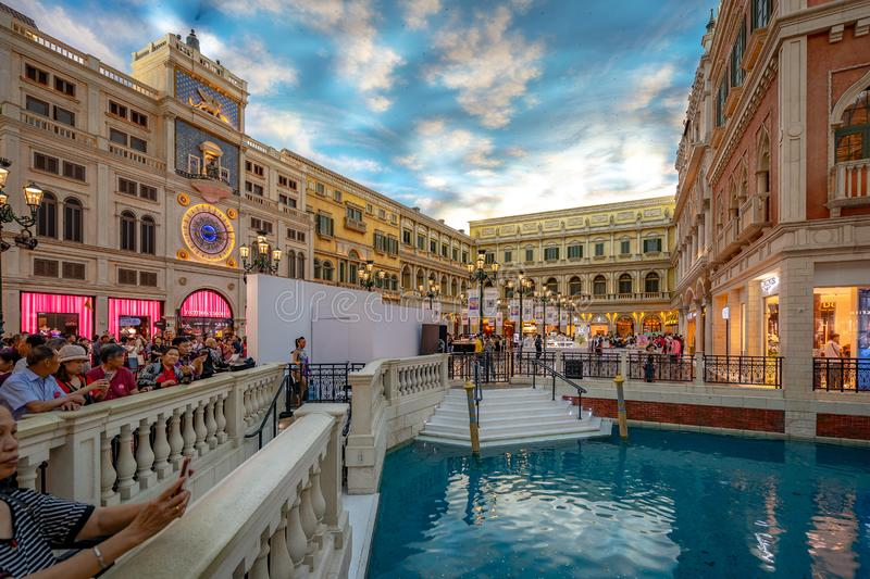 Macao, Chine - 23 avril 2019 : Int?rieur v?nitien de casino images stock