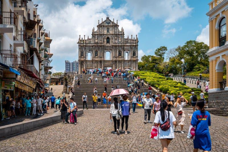 Macao, Chine - 23 avril 2019 : Ruines de St Paul photos libres de droits