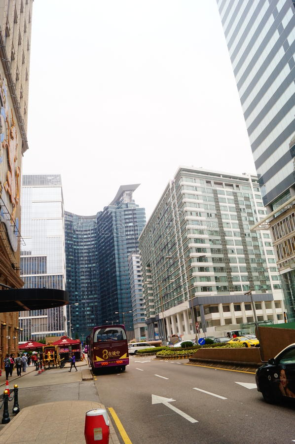 Macao, Cina: paesaggio urbano di traffico stradale immagine stock
