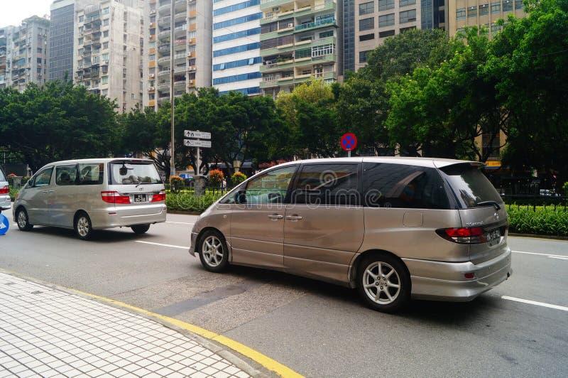 Macao, Cina: paesaggio urbano di traffico stradale immagini stock libere da diritti