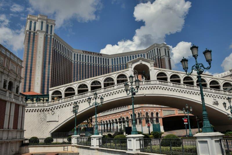 MACAO - CIRCA SEPTEMBER 2017: Strand och Venetian lyxig semesterort för Macao kasino och i Macao Kina arkivbilder