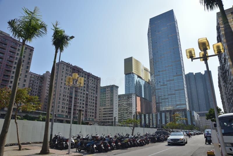 Macao fait des emplettes vue de rue d'édifice haut photographie stock libre de droits