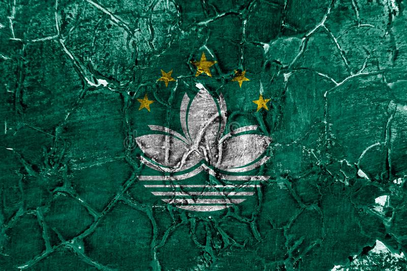 Macao grungeflagga, beroende territoriumflagga royaltyfri fotografi