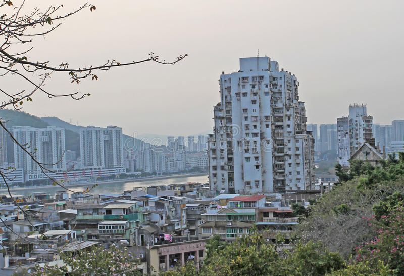 Macao horisont från Guia Fortress fotografering för bildbyråer