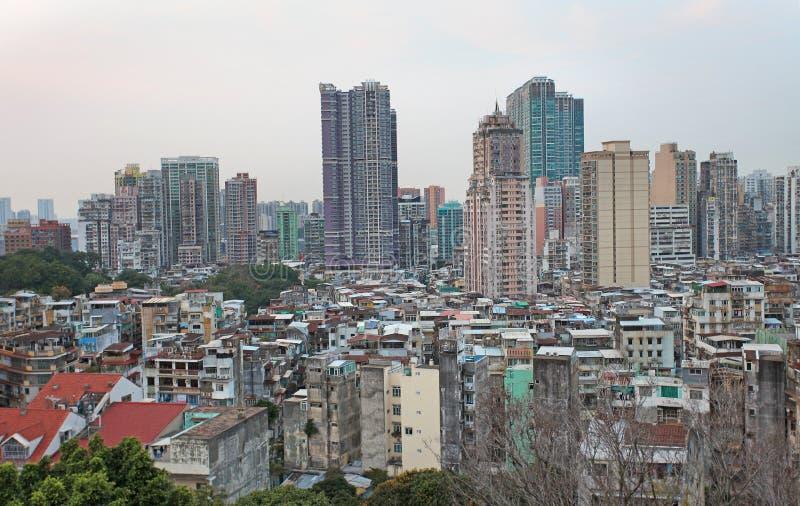 Macao horisont från Guia Fortress arkivfoto