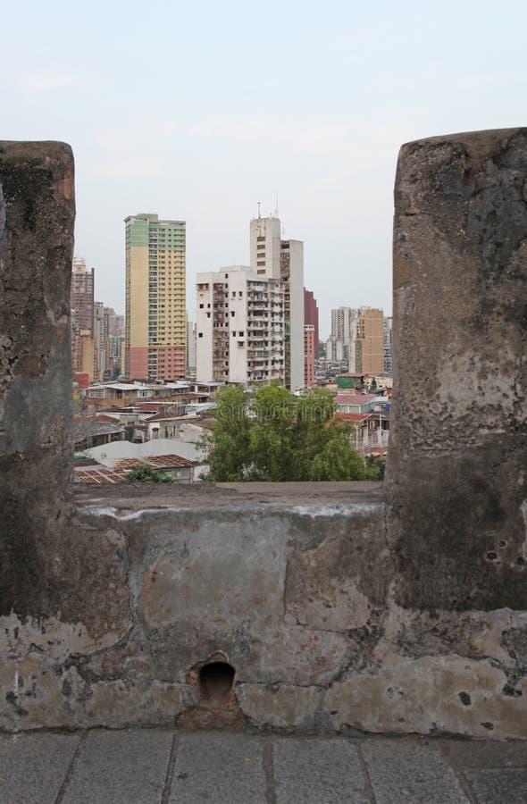 Macao horisont från Guia Fortress arkivbild