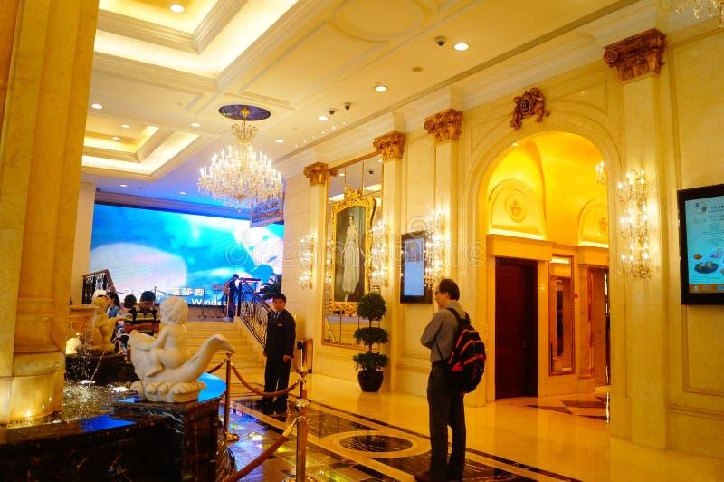 Macao Kina: hotelllobby royaltyfri bild