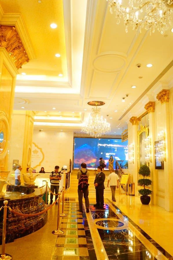 Macao Kina: hotelllobby fotografering för bildbyråer