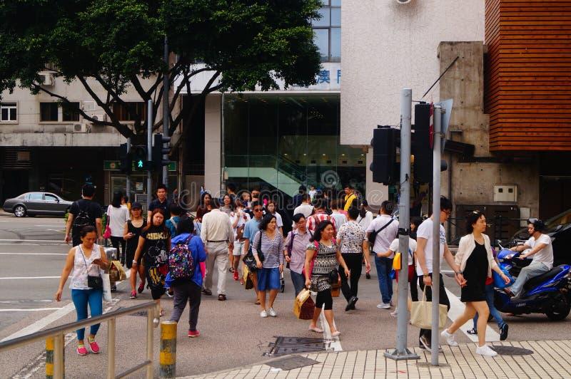 Macao Kina: stads- landskap för vägtrafik arkivfoton