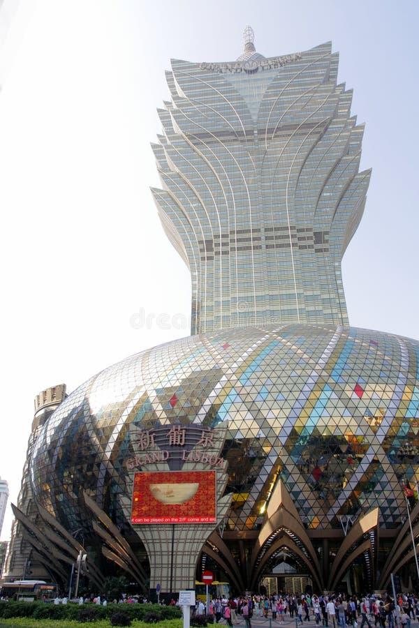 Macao: Storslaget Lisboa hotell royaltyfria foton