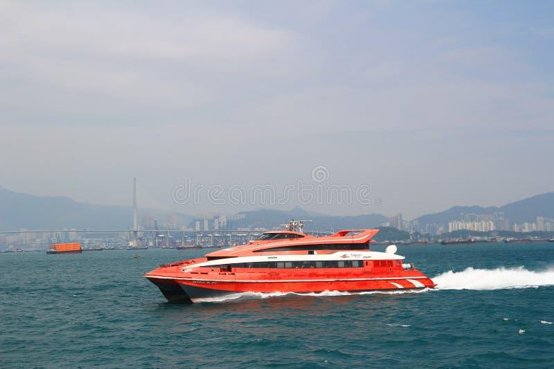 Macao to Hong Kong ferry boats in Hong Kong harbor stock photos