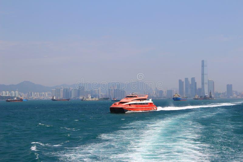 Macao to Hong Kong ferry boats in Hong Kong harbor. The Macao to Hong Kong ferry boats in Hong Kong harbor royalty free stock photography