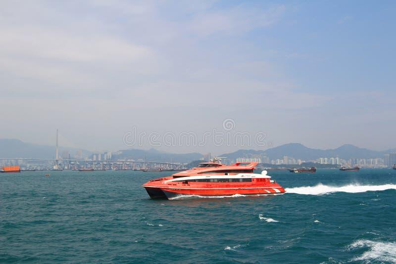 Macao to Hong Kong ferry boats in Hong Kong harbor stock photography